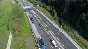 Repairing highway with new asphalt stock footage
