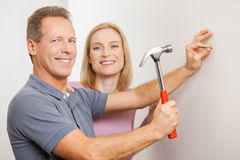 Repairing home together. Stock Photos