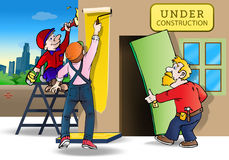 Repairing house. Illustration of a group handyman worker repairing and painting house Stock Illustration