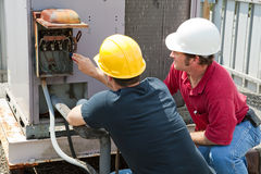 Repairing Industrial Air Conditioner Stock Photo