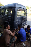 Repairing jeep Royalty Free Stock Photo