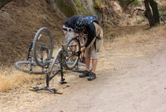 Repairing a Mountain Bike in Whiting Ranch Wilderness Park stock photography