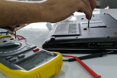 Repairing a notebook. Stock Photo