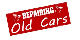 Repairing old cars. Stamp with text repairing old cars inside,  illustration Stock Photo