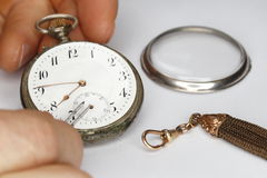 Repairing old clock work Royalty Free Stock Images