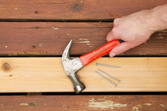 Repairing Old Wooden Boards on Deck Stock Images
