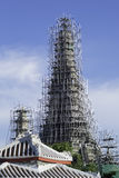 The repairing of one famous pagoda in Thai temple Stock Photos