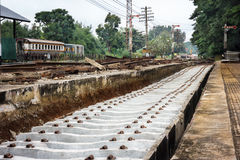 Repairing of railway sleepers change to   concrete sleepers. Royalty Free Stock Photography