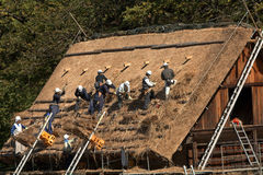 Repairing the roof, Shirakawa-go, Japan Stock Image