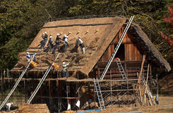 Repairing the roof, Shirakawa-go, Japan Stock Photography