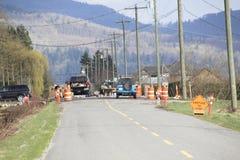 Repairing Rural Road stock image