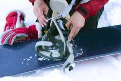 Repairing of ski-binding Stock Photography