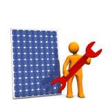 Repairing a solar panel Stock Image