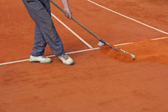 Repairing tennis court Royalty Free Stock Photo