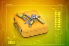 Repairing tools and box Stock Photo
