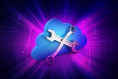 Repairing tools with cloud Stock Photo
