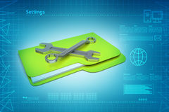 Repairing tools with file folder Stock Photography