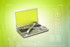 Repairing tools with laptop Stock Photography