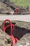 Repairing underground communication pipe in the park Stock Photography
