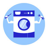 Repairing washing machine services. Stylized washing machine with arms and tools for repair in hands. Stock . Flat design royalty free illustration