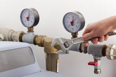 Repairing water softener Royalty Free Stock Photo