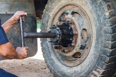 Repairing wheel Stock Photography