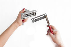 Repairing a window latch Stock Image