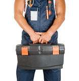 Repairman. With box of instruments on white background Royalty Free Stock Images