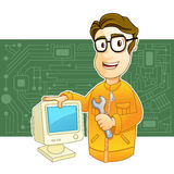 Repairman. Technician holding wrench and PC monitor Royalty Free Stock Images