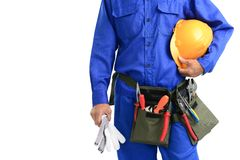 Repairman. Close-up of a repairman isolated against white background with copy-space Stock Images
