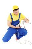 Repairman. Worker repairman repair computer keyboard royalty free stock photo