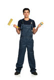 Repairman Arab nationality in the construction overalls on a whi Royalty Free Stock Photography
