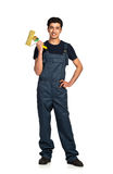 Repairman Arab nationality in the construction overalls on a whi Royalty Free Stock Images