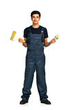 Repairman Arab nationality in the construction overalls on a whi Stock Image