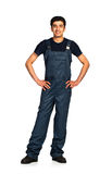 Repairman Arab nationality in the construction overalls on a whi Stock Photos