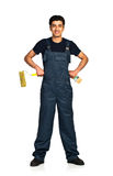 Repairman Arab nationality in the construction overalls on a whi Royalty Free Stock Photos