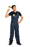 Repairman Arab nationality in the construction overalls on a whi Stock Photo