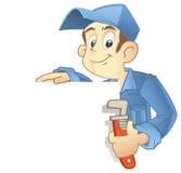 Repairman with banner stock photos