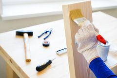 Repairman, carpenter, hired worker applies a protective varnish or paint brush on a wooden Board. Gloved hands, construction tools royalty free stock images
