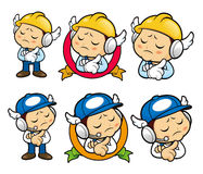 Repairman Character is being immersed in thought for new ideas. Stock Images