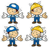 Repairman Character is doing not to know gestures. Royalty Free Stock Image