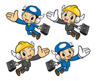 Repairman Character goes on business trip flying. Royalty Free Stock Photography