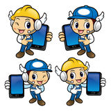 Repairman Character has been directed towards a smart phone. Royalty Free Stock Photography