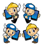 Repairman Character has telephone conversation. Royalty Free Stock Photography