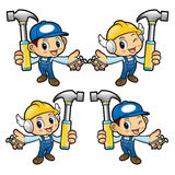 Repairman Character holding a with both hammer and nail. Stock Photo