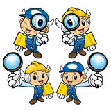 Repairman Character is holding a magnifier and board. Stock Image