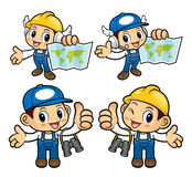 Repairman Character holding a Paper map. Royalty Free Stock Photo