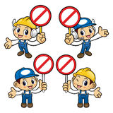 Repairman Character No gesture and is holding a sign picket. Royalty Free Stock Photo