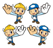 Repairman Character is OK a gesture playing. Stock Photos