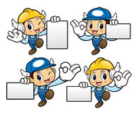 Repairman Character is OK gestures and holding a business cards. Stock Photo